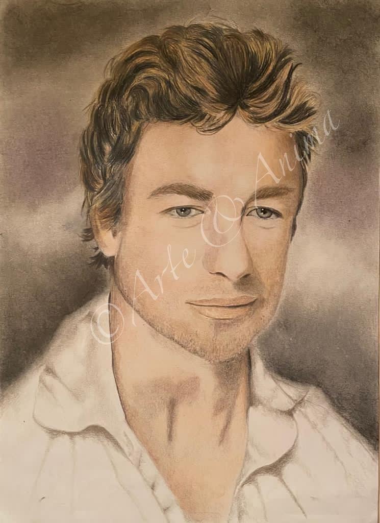 The Mentalist ritratto con colori Caran D' Ache Luminance e pastelli Rembrandt