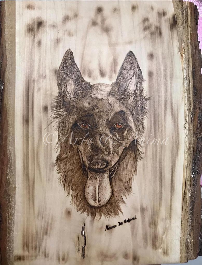 Ritratto con pirografo su legno grezzo 65 X35