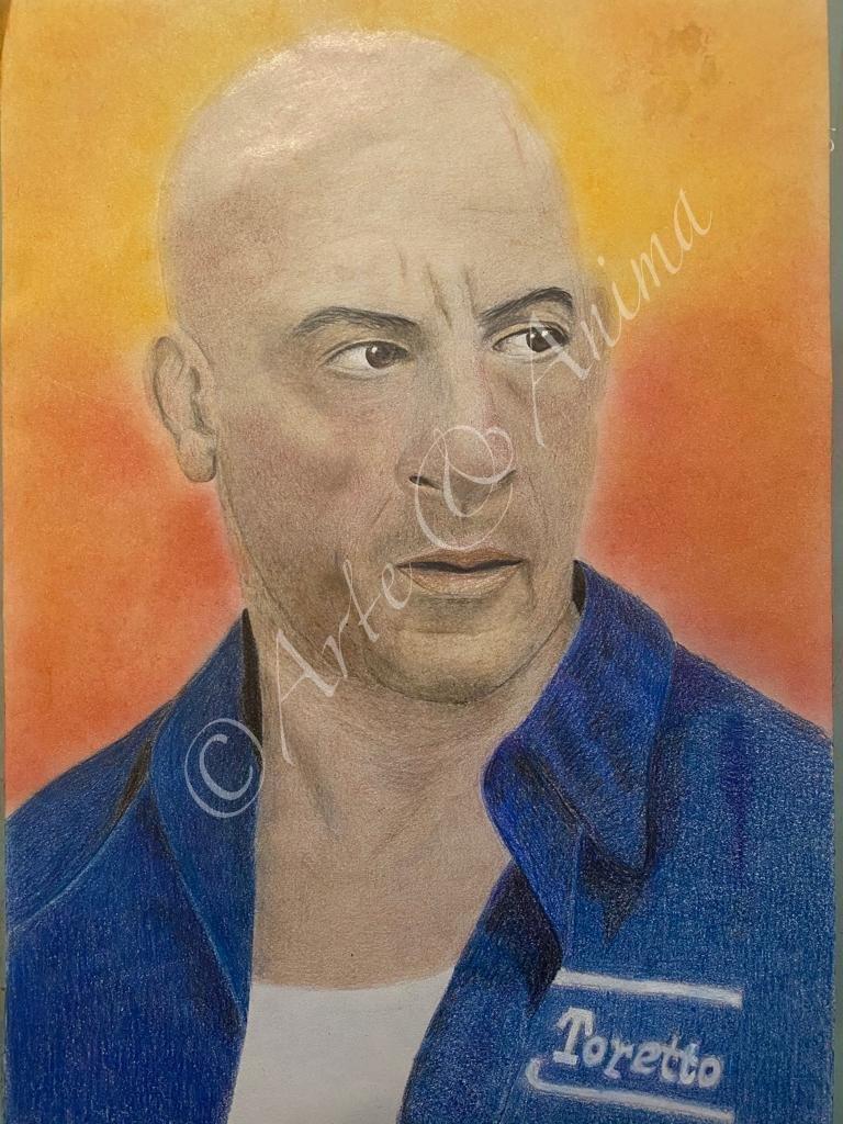 Ritratto Win Diesel A' colori Caran D' Ache Luminance e pastelli Rembrandt