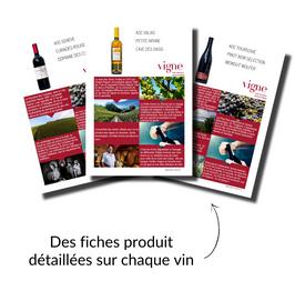 Des fiches produit détaillées sur les vins de ce coffret cadeau