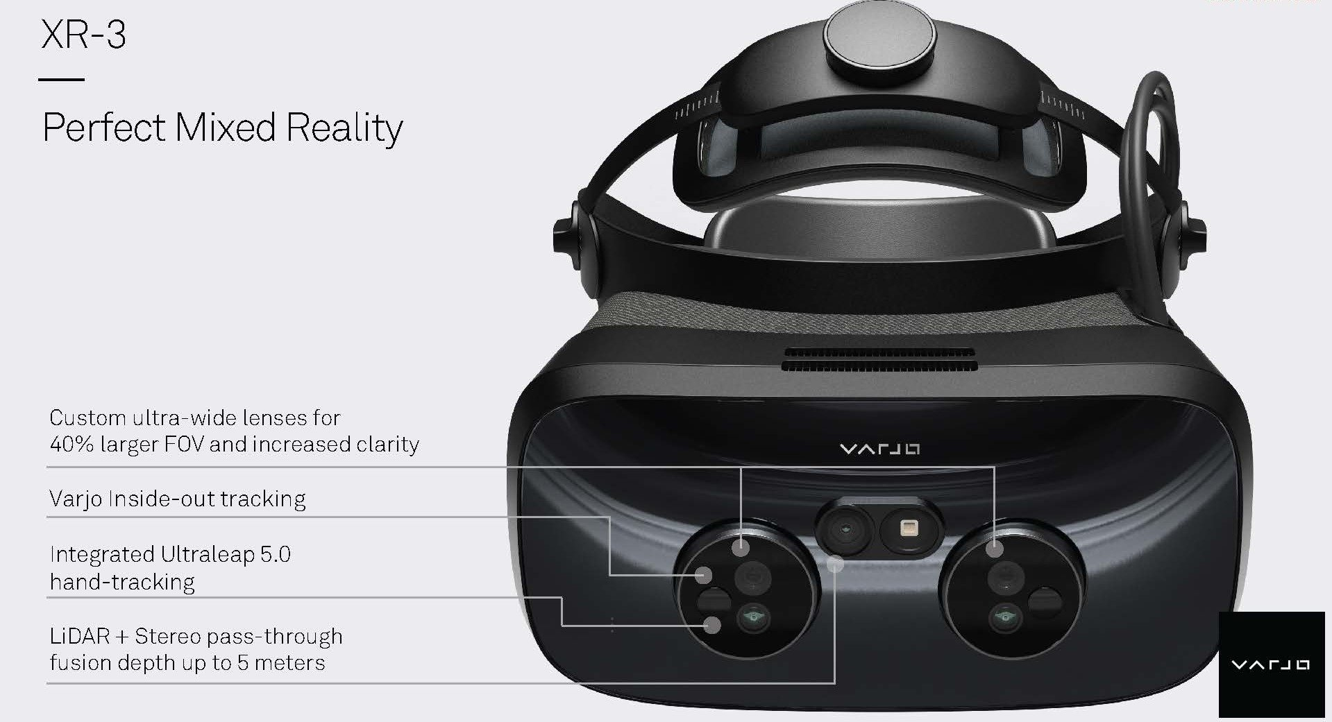 The Varjo XR3 has a full complement of sensors and cameras.
