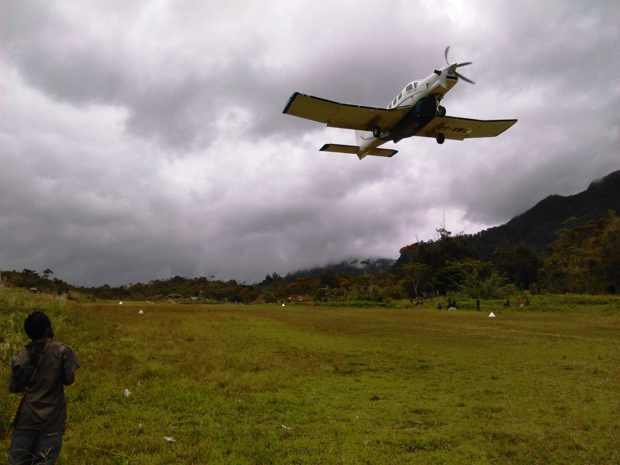 The Central Aviation Aircraft is taking off from Daburap Airstrip after vegetables have been loaded for selling at township in Kiunga and Tabubil in the Western province of Papua New Guinea.