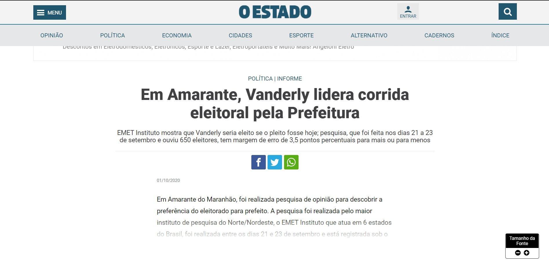 Matéria de O Estado que afirma vitória de Vanderly por 14% de vantagem sobre Adriana