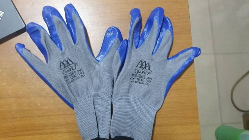 Blue Nitrile Rubber Safety Hand Gloves
