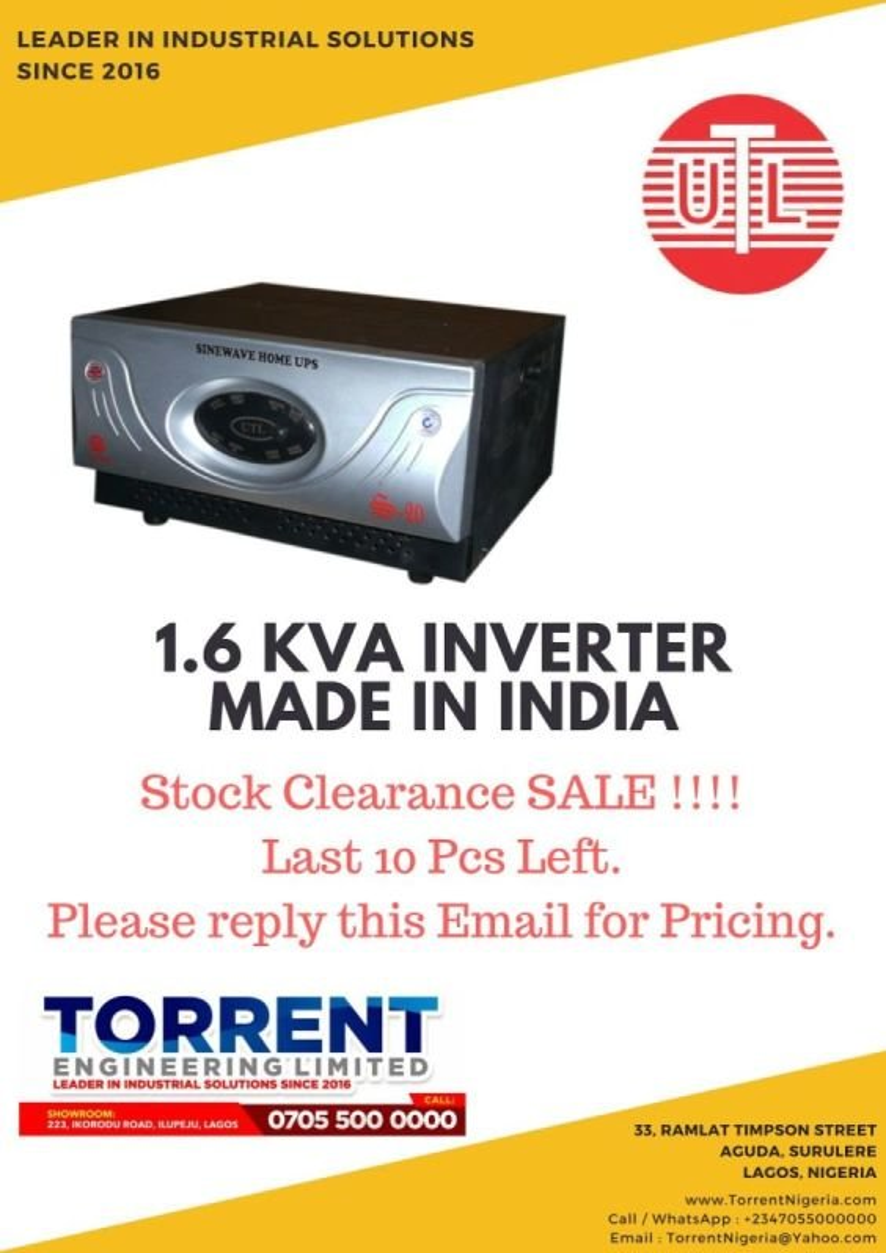 UTL 1.6 KVA Inverter. (Made in India)