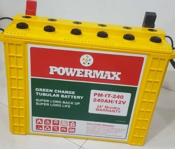 PowerMax Tall Tubular Batteries 240 Ah (24 Months Warranty) Made in India.