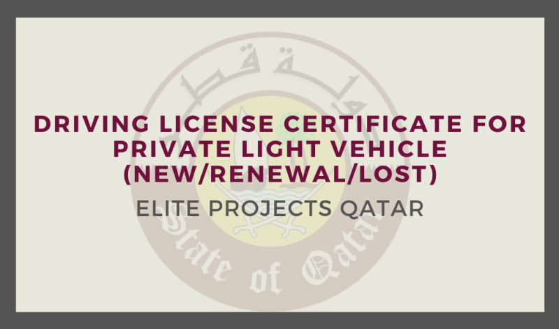 Driving License Certificate for private light vehicle (New/Renewal/Lost)