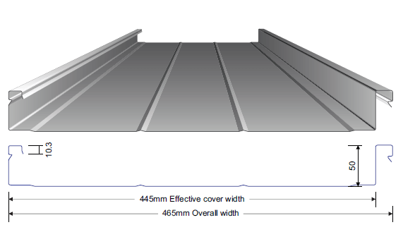 Line drawing of pan and dimensions