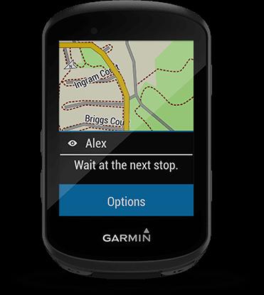 Edge 530 avec écran de messagerie de groupe