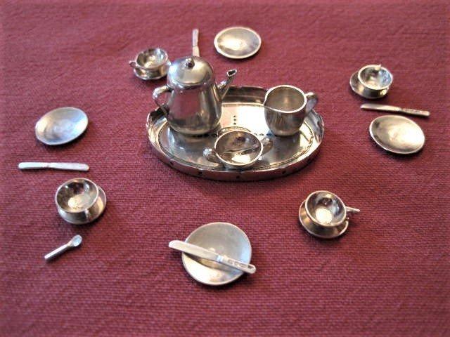 1:12 Miniature silver tea service