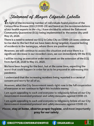 Cebu City Mayor Edgar Labella fb post abot ECQ extension