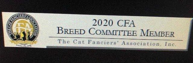 2020 - 2001  CFA BREED COUNCIL MEMBER