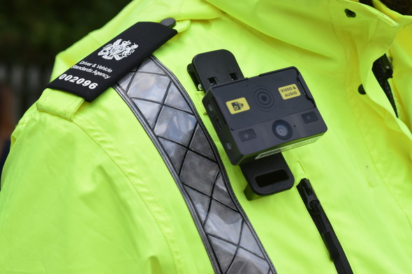 Bodycam on DVSA officer's shoulder