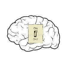 Vector illustration of a switch that turns on and off the brains.  vector illustration