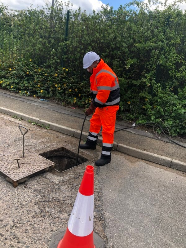 High pressure water jetting for unblocking drains.