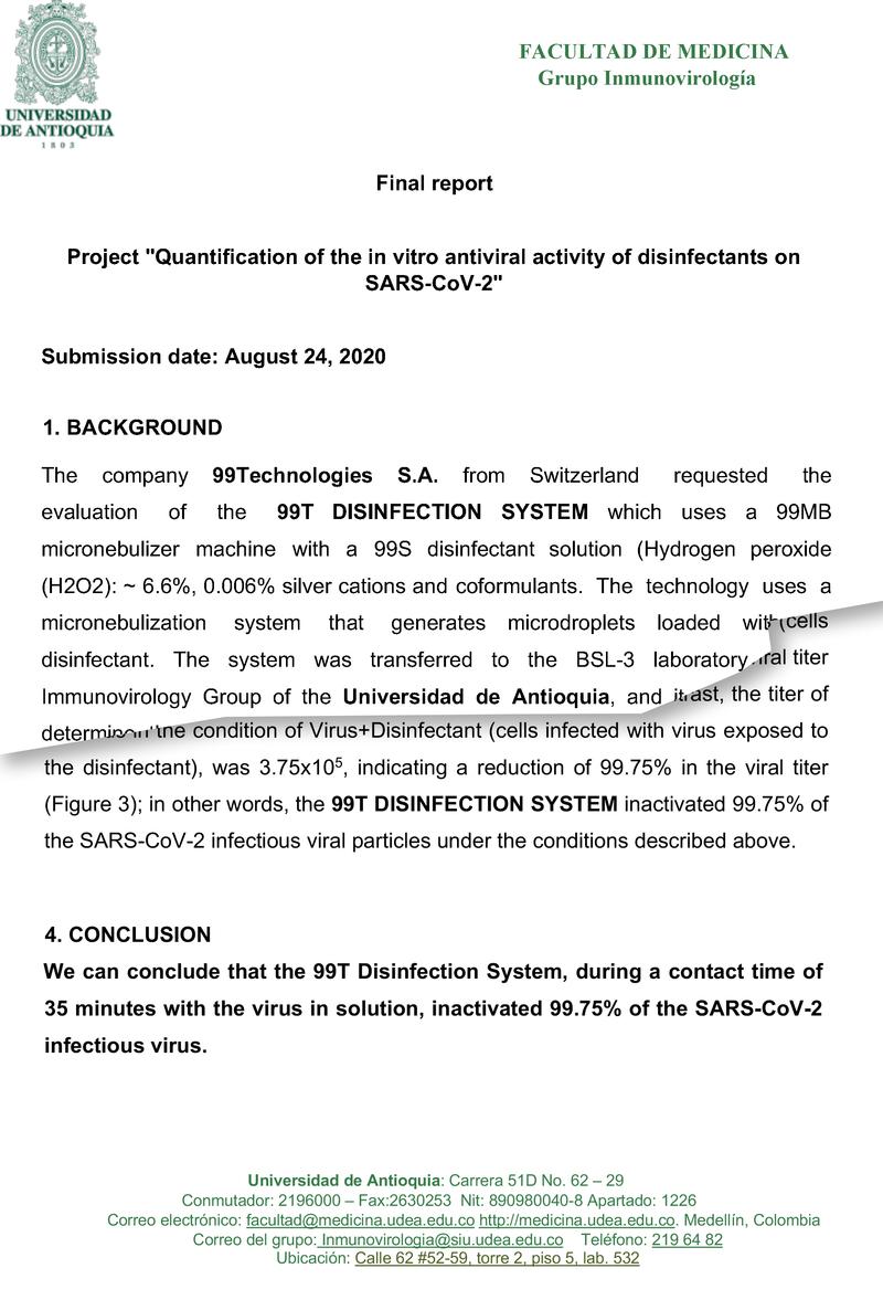 99T Sistema disinfettante  efficace anche contro SARS-CoV-2 (Coronavirus)