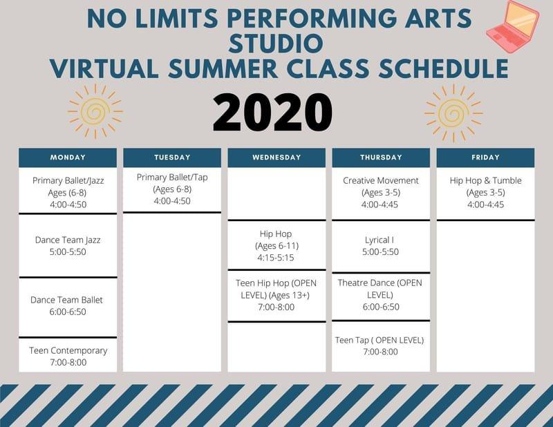 Summer 2020 Dance Class Schedule