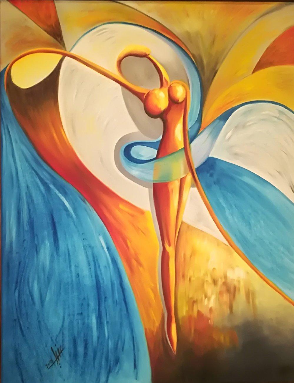 لوحة فنية للفنانة التشكيلية السعودية دنيا الصالح