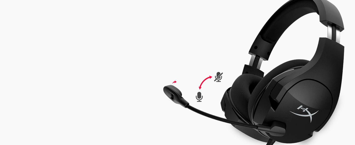 Swivel-to-mute noise-cancelling mic