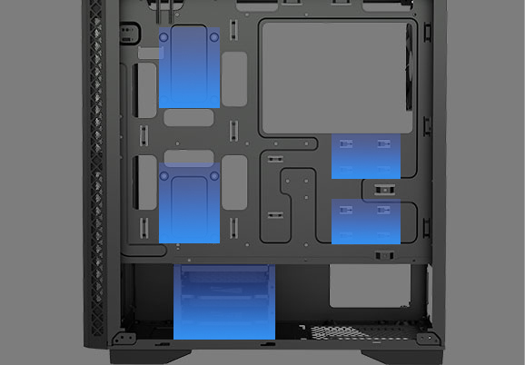five blue areas in the picture show MATREXX 50 ADD-RGB 4F Case support 4*2.5'' SSD slots and 2* 3.5'' HDD cages