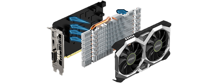Dual fan design, with extended heat-sink