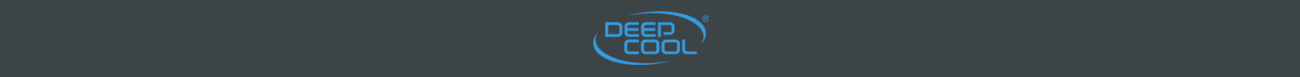 Blue deepcool logo on a dark gray background