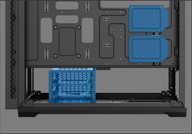 Hard disk bays and spaces inside the MATREXX 70 case