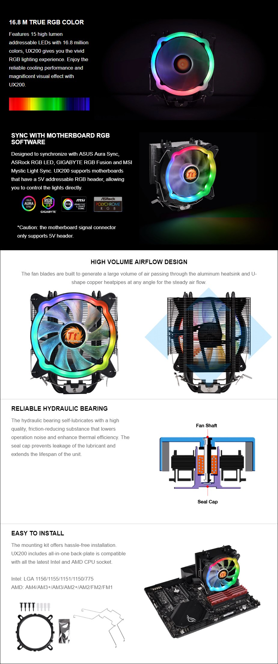 Thermaltake UX200 ARGB CPU Air Cooler - Overview 1