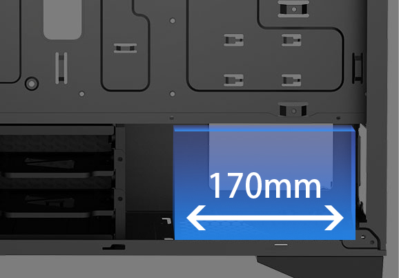 Blue area in the picture shows support Power Supply: ATX PS2 (Maximum length: 170mm)