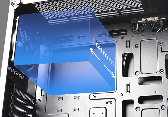 Blue area on the top of case in the picture shows Support 168mm (max) CPU cooler height
