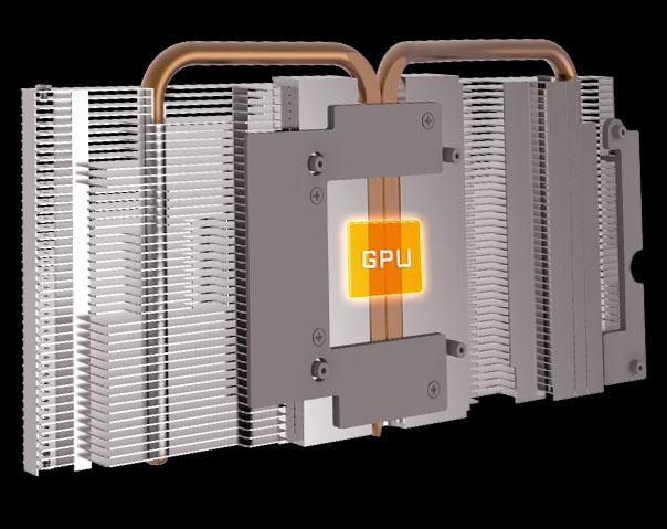 heatsink and heatpipes directly touching the GPU