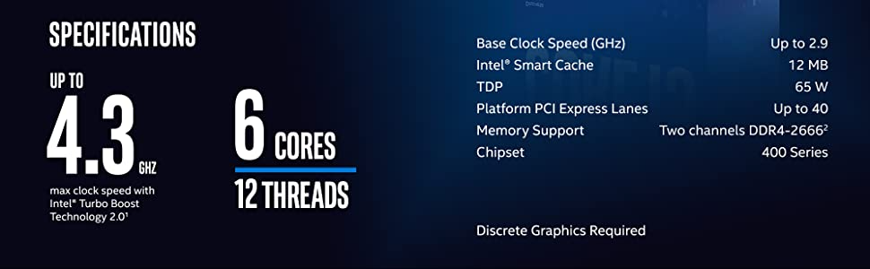 10th Gen Intel Core i5-10400F Desktop Processor