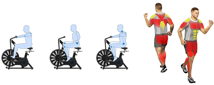 illustration of different limbs being worked on using the ultra bike