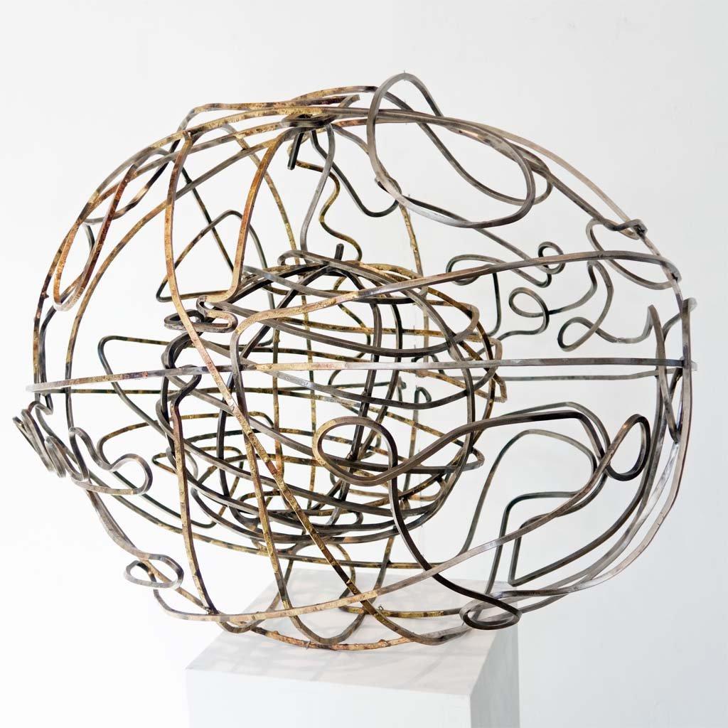 'Edge of Chaos III'   2020   Iron & brass sculpture   75x90x75 cm   Rami Ater