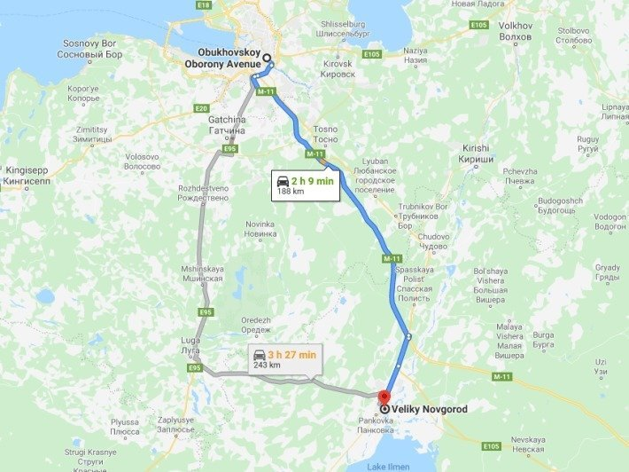Taxi ride from St Petersburg to Veliky Novgorod via high speed Neva road