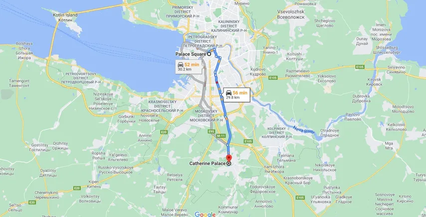 Taxi from St Petersburg to Pushkin