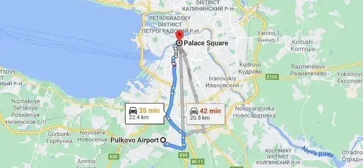 Transfer from Pulkovo Airport to St. Petersburg city center