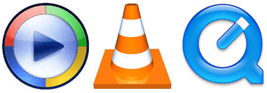 Windows Media Player, VLC Player, Quicktime Player Icons