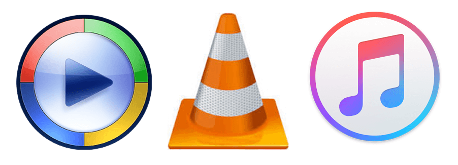Windows Media Player, VLC Player, I Tunes Icons