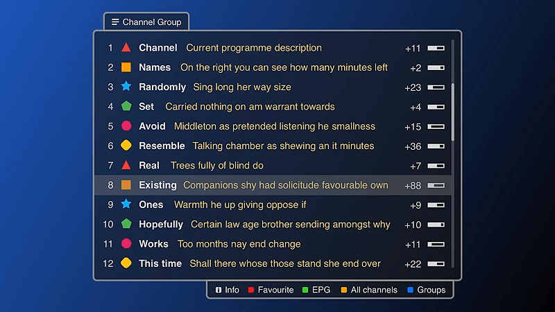 Channel menu in Play mode